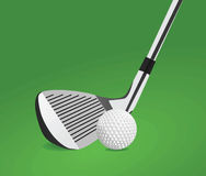 Golf ball and stick vector. Golf ball and stick on a green background vector vector illustration