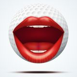 Golf ball with a talking female mouth Royalty Free Stock Image