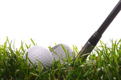 Golf ball in tall grass with 7 iron Royalty Free Stock Photos