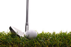 Golf ball in tall grass with 7 iron Stock Photos
