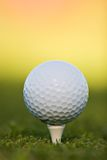 Golf ball on tee. Extreme close-up Royalty Free Stock Photo