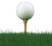 Golf ball on tee. Worm's eye view of golf ball on tee Stock Photo