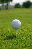 Golf ball on tee. White golf ball on a white tee Royalty Free Stock Image