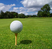 Golf ball on the tee. Golf ball on tee in a beautiful golf club Royalty Free Stock Photography