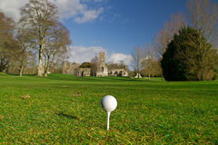 Golf ball on the tee. Idyllic golf course of irish Adare Royalty Free Stock Image