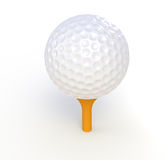 Golf Ball and Tee. Golf ball. Teeing off. Isolated Royalty Free Stock Photos
