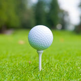Golf Ball on Tee. Golf ball on tee over a blurred green. Shallow depth of field. Focus on the ball Stock Image