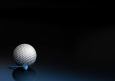 Golf ball and tee. Close up of a golf ball over a black and blue background, the golfball is located at the bottom left of the image, there is room for text and Stock Photography