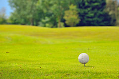 Golf ball on tee Stock Image