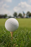 Golf Ball on Tee. Golfball on tee in foreground with course and golfer blurred in background. Vertical format Royalty Free Stock Photography