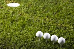 Golf ball on tee. In grass Royalty Free Stock Photo