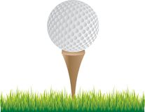 Golf ball on tee. Picture of golf ball on tee Royalty Free Stock Images