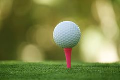 Golf ball on tee in beautiful golf course at bokeh background. Golf ball on green in golf course. At Thailand royalty free stock photos