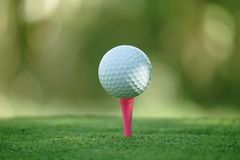 Golf ball on tee in beautiful golf course at bokeh background. Golf ball on green in golf course. At Thailand royalty free stock images