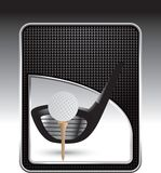 Golf ball tee with club black checkered backdrop Stock Photo