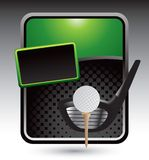Golf ball on tee with club on green stylized ad. Green stylized banner template with a golf ball on a tee with a golf club behind it Royalty Free Stock Images