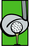 Golf ball tee and driver club vector illustration. Vector illustration of a golf ball in tee and driver club Royalty Free Stock Photos