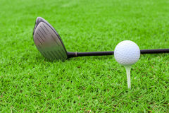 Golf ball on a tee and driver in green grass course Royalty Free Stock Photography