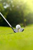 Golf ball on tee with driver. Golf ball on tee in green grassy course with driver or wood Stock Photography