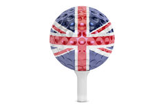 Golf ball on a tee with flag of Great Britain, 3D rendering Royalty Free Stock Photography