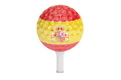 Golf ball on a tee with flag of Spain, 3D rendering Royalty Free Stock Photos