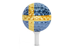 Golf ball on a tee with flag of Sweden, 3D rendering Royalty Free Stock Photo