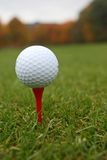 Golf ball on tee. Royalty Free Stock Photography