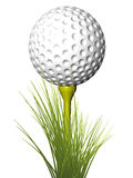 Golf ball on tee, with grass Stock Images