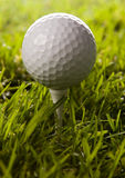 Golf ball on tee in grass Royalty Free Stock Photography