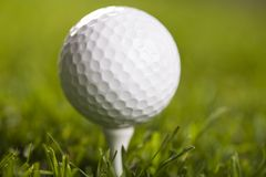 Golf ball on tee in grass Stock Photos
