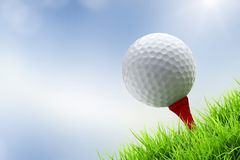 Golf ball on tee. A golf ball on tee on green bury background Royalty Free Stock Images