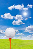 Golf ball and tee on green grass Stock Photos