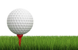 Golf ball on tee with green grass Royalty Free Stock Photography