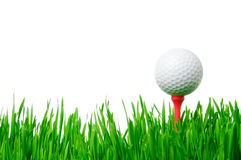 Golf ball on tee isolated Royalty Free Stock Images