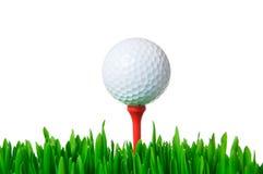 Golf ball on tee isolated Stock Photos