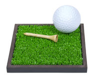 Golf Ball and Tee Laying on the Grass Stock Photo