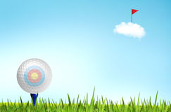 Golf ball on the tee off Royalty Free Stock Photos