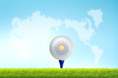 Golf ball on the tee off Stock Images