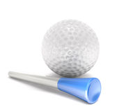 Golf ball and tee peg (3d illustration). Stock Photos