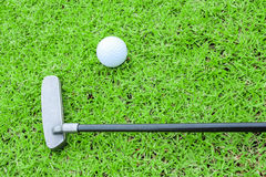 Golf ball on a tee and putter in green grass course Stock Images