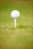 Golf ball on tee ready to be shot Stock Photography