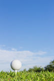 Golf ball on a tee with  sky background Royalty Free Stock Photography