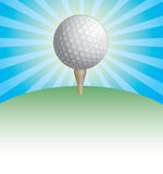 Golf Ball On Tee Sunburst Design Royalty Free Stock Photography