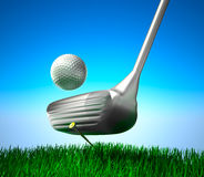 Golf ball on tee and target Royalty Free Stock Image