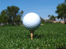 Golf Ball tee up. Golf ball on Tee stock images