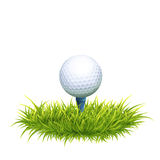Golf Ball And Tee. Vector Photo Realistic Illustration Of White Golf Ball And Tee In The Green Grass. Close Up View Royalty Free Stock Image