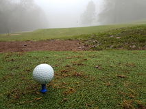 Golf ball on tee in winter. Golf ball on tee in foggy conditions Stock Photo