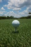 Golf ball teed up on a tee on the green under a blue sky stock images