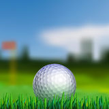 Golf ball on teeing area. Golf ball on grass with blured fairway on background Stock Photos
