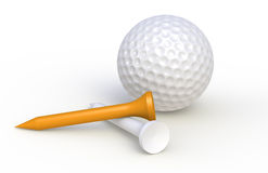 Golf ball and tees. One orange Stock Images